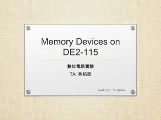 Memory Devices on DE2-115
