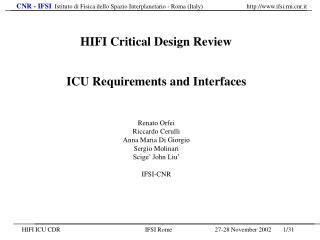 ICU Requirements and Interfaces Renato Orfei Riccardo Cerulli Anna Maria Di Giorgio
