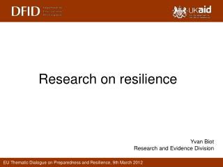 Research on resilience