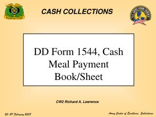 DD Form 1544, Cash Meal Payment Book/Sheet
