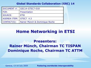 Home Networking in ETSI