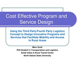Cost Effective Program and Service Design