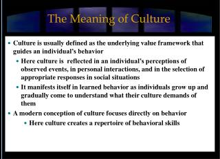 The Meaning of Culture