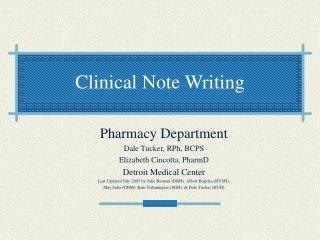 Clinical Note Writing