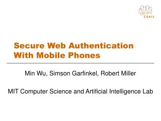 Secure Web Authentication With Mobile Phones