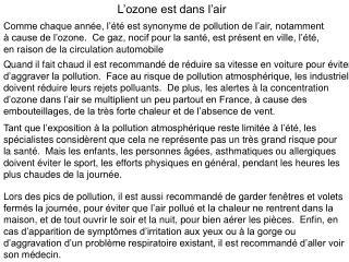 L'ozone est dans l'air
