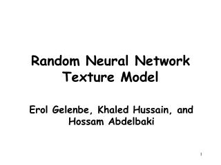 Random Neural Network Texture Model