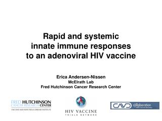 Rapid and systemic  innate immune responses  to an adenoviral HIV vaccine