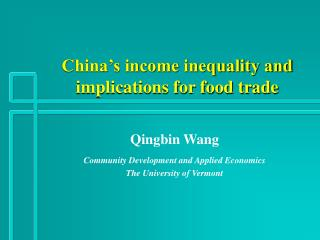 China's income inequality and implications for food trade