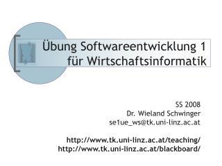 Übung Softwareentwicklung 1 für Wirtschaftsinformatik