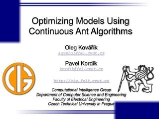 Optimizing Models Using Continuous Ant Algorithms