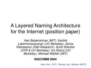 A Layered Naming Architecture for the Internet (position paper)