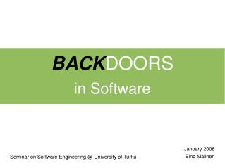 BACK DOORS in Software