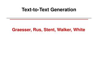 Text-to-Text Generation