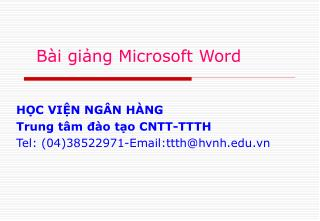 Bài giảng Microsoft Word