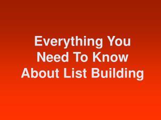 List Building Basics Guide