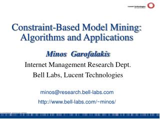 Constraint-Based Model Mining: Algorithms and Applications