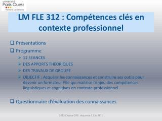 LM FLE 312 : Compétences clés en contexte professionnel