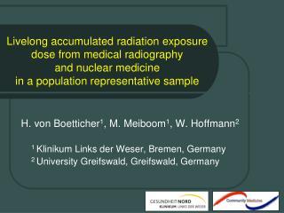 H. von Boetticher 1 , M. Meiboom 1 , W. Hoffmann 2 1  Klinikum Links der Weser, Bremen, Germany