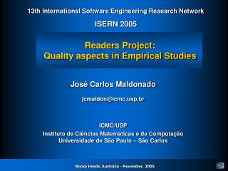 Readers Project: Quality aspects in Empirical Studies