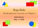 Shape Shake Kindergarten Lesson on Shapes