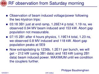 RF observation from Saturday morning