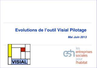 Evolutions de l'outil  Visial  Pilotage  Mai Juin 2013