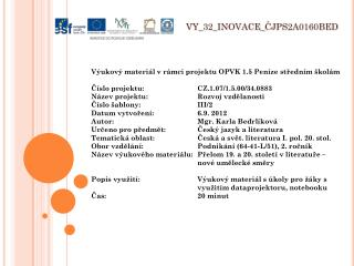 V Y_32_INOVACE_ ČJPS2A0160BED
