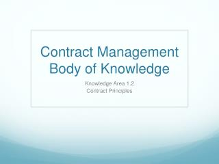 Contract Management Body of Knowledge