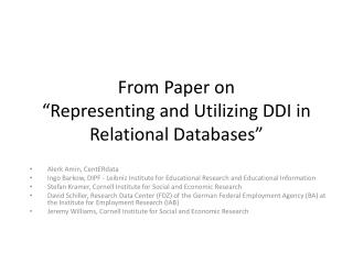 "From Paper on ""Representing and Utilizing DDI in Relational  Databases"""