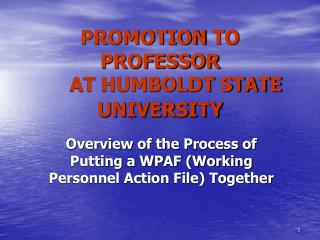 PROMOTION TO PROFESSOR  AT HUMBOLDT STATE UNIVERSITY