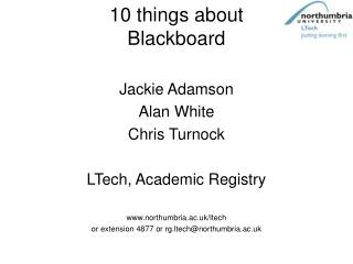 10 things about Blackboard