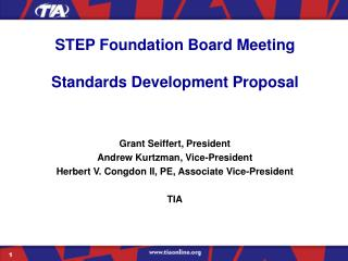 STEP Foundation Board Meeting Standards Development Proposal