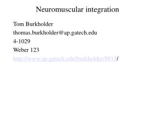 Neuromuscular integration