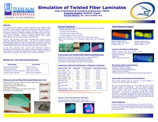 Simulation of Twisted Fiber Laminates Dept of Mechanical & Industrial Engineering, TAMUK