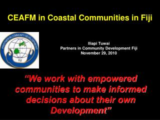 CEAFM in Coastal Communities in Fiji