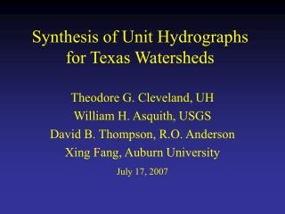 Synthesis of Unit Hydrographs for Texas Watersheds