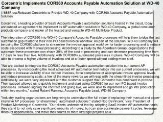 Corcentric Implements COR360 Accounts Payable Automation Sol