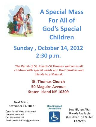 A Special Mass For All of  God's Special Children