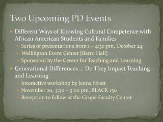 Two Upcoming PD Events