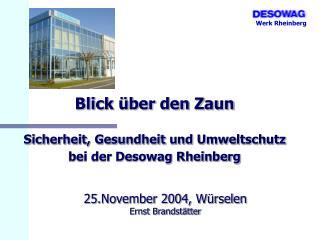 Blick über den Zaun Sicherheit, Gesundheit und Umweltschutz bei der Desowag Rheinberg