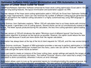 Optimalon Software Adds Layout Minimization and VBA Automati