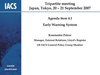 Tripartite meeting Japan, Tokyo, 20 � 21 September 2007