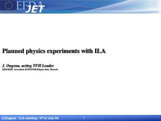 Background JET / ITER