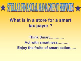 What is in a store for a smart tax payer ?