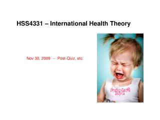 HSS4331 – International Health Theory