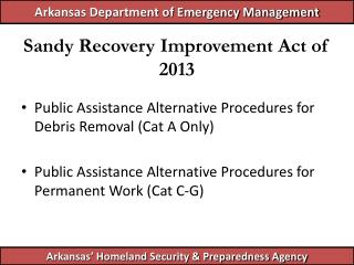 Sandy Recovery Improvement Act of 2013