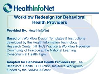 Workflow Redesign for Behavioral Health Providers