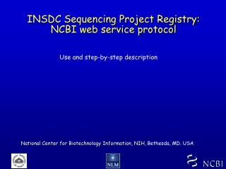 INSDC Sequencing Project Registry: NCBI web service protocol