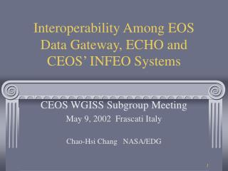 Interoperability Among EOS Data Gateway, ECHO and CEOS' INFEO Systems